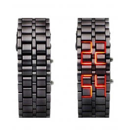 Rise N Shine Digital Led Steel Belt Black Dial Men's Watch