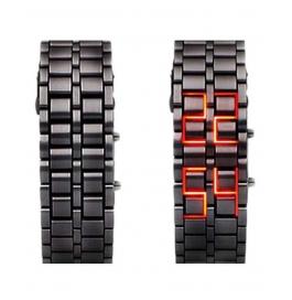 Digital Led Steel Belt Black Dial Men's Watch