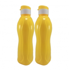 Jimit Fliptop 1000 Ml Plastic Bottle (pack Of 2, Yellow)
