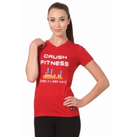 Crush Fitness Women Cotton Crush Fitness Emblem Red T-shirt