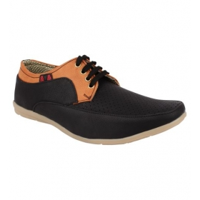 Sarva Mens Casual Black Shoe