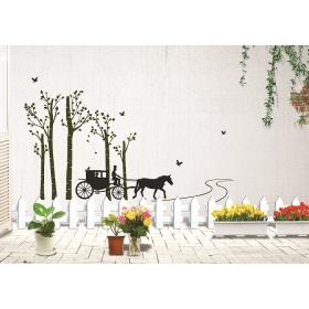 Ay815 Horse Car On Road Nature Wall Sticker  Jaamso Royals