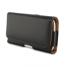 Infocus M370 Leather Horizontal Holster Pouch With Belt Clip By Trenzo - Black