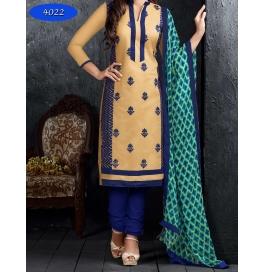 Cream Embriodered Cotton Churidar Salwar Suit