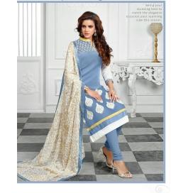 Grey Embriodered Chanderi Straight Salwar Suit