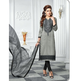 Black Embriodered Cotton Straight Salwar Suit