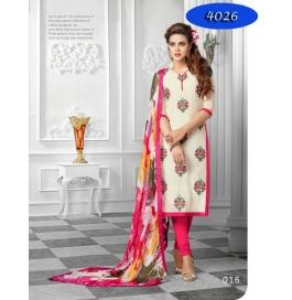 Cream Printed Cotton Churidar Salwar Suit