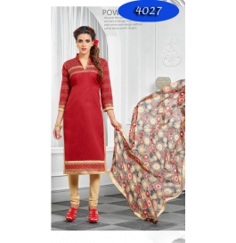 Maruti Fashion Red Embroidedred Chanderi  Straight  Salwar Suit