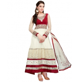 Cream Color Color Suit With Bottom And Dupatta