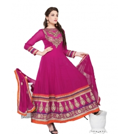 Deep Pink Color Suit With Bottom And Dupatta