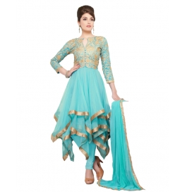 Sky Blue Color Suit With Bottom And Dupatta