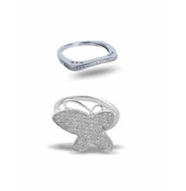 Floral Platinum Plated Ring Combo
