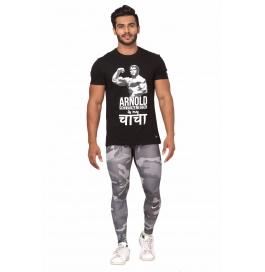 Crush Fitness Men's Cotton Arnold Black T-shirt