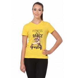 Crush Fitness Women Cotton Dance Party Yellow T-shirt
