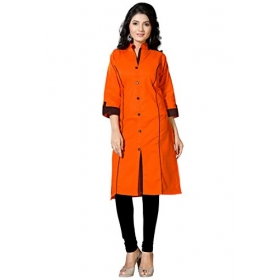 Fashion Women;s Orange Colour Half Sleeve Cotton Kurti
