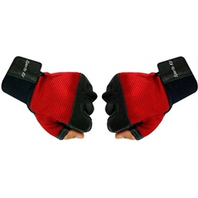 Pro Grip Leather Fitness Gloves, Free Size (red/black)