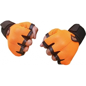 New Heavy Leather Padding Netted Gloves With Support