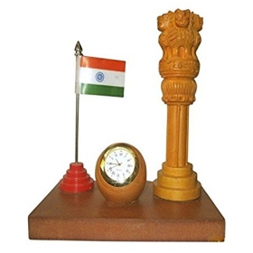 Shopoj Wooden Ashoka Pillar & Watch & Flag