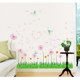Ay7269 Green Well With Pink Trees Nature Wall Sticker  Jaamso Royals