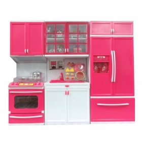 Modern Kitchen Set Battery Operated Play Set With Refrigerator For Girl