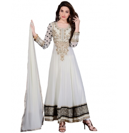 White Color Suit With Bottom And Dupatta