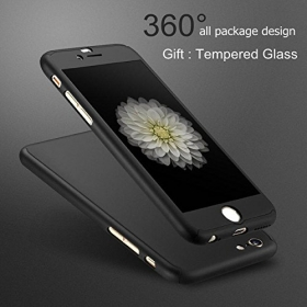 360 Degree Hybrid Front Back Cover Case For Apple Iphone 6/6s,black