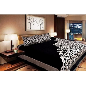 Fresh From Loom 500 Tc Premium Chenille Bed Cover With 2 Pillow Cover, Black