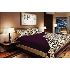 The Intellect Bazaar 500 Tc Velvet Bed Cover King Size With 2 Pillow Cover - Modern, Purple