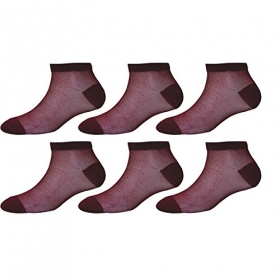 Footmate Socks Women Maroon Fishnet Socks (pack Of 6)