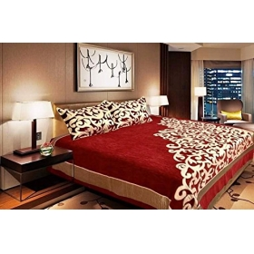 Fresh From Loom Premium Chenille Bed Cover With 2 Pillow Cover,red