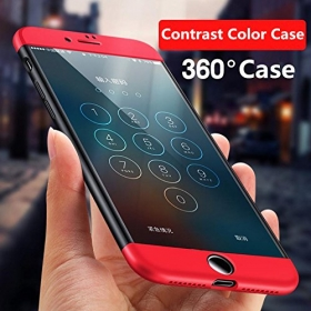 Red / Black All Sides Full Protection 360 Degree Sleek Rubberised Matte Hard Case Back Cover For Apple Iphone 7 Plus