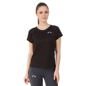 Arc Black Crew Neck Raglan Top For Girls
