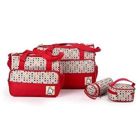 5pcs/set Baby Diaper Bag Nappy Mummy Bag Print Maternity Handbag Changing Baby Messenger Bag (red)