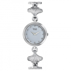 Titan Raga Women Metal Regular White Watches-2540sm04