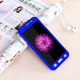 360 Degree Full Body Protection Front & Back Case Cover (ipaky Style) With Tempered Glass For Samsung J5 Prime (blue)