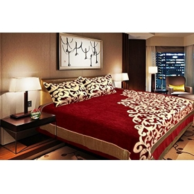 The Intellect Bazaar 500 Tc Velvet Bedcover With 2 Pillow Covers,red