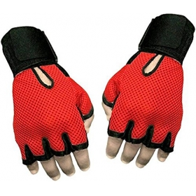 Sheep Leather Red & Black Gym & Fitness Gloves (free Size, Red, Black)
