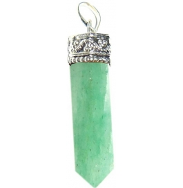 Shopoj Light Green Aventurine Pencil Pendant Kavach Quartz Stone Pendant