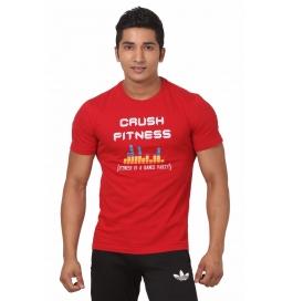 Crush Fitness Men's Cotton Crush Fitness Emblem Red T-shirt