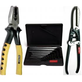 Ketsy 533 Hand Tool Kit 11 Pcs.(combination Plier 8 Inch,allen Key Set Of 9 Pcs.,tin Cutter 8 Inch)