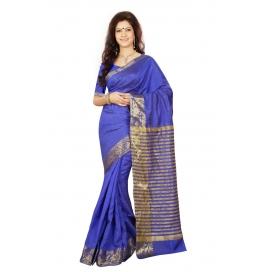 Zari Border Buti Pallu Blue Color Saree With Blouse