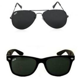 Sunglasses Black  Avaitor & Wayfarer Combo Goggles