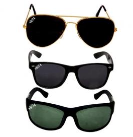 Sunglasses Black Avaitor, Black Avaitor & Wayfarer Combo Of 3 Pack Goggles