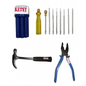 Ketsy 557 Hand Tool Kit 11 Pcs.(screwdriver Set Of 9 Pcs.,curved Claw Hammer Steel Shaft /2lb,combination Plier 8 Inch)
