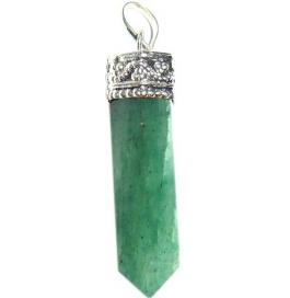 Shopoj Green Aventurine Pencil Pendant Kavach Quartz Stone Pendant