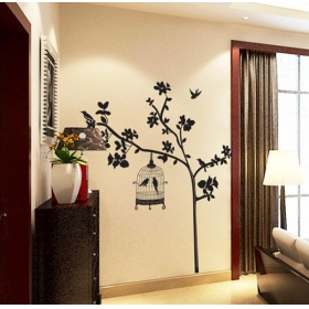 Ay9047 Birds Cage On The Black Tree Nature Wall Sticker  Jaamso Royals