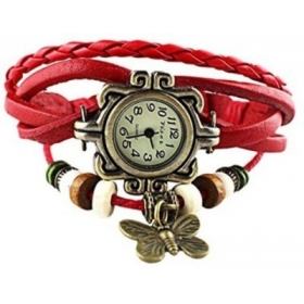 Festival Offer Red Casual Analog Leather Women Wrist Watch