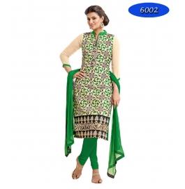 Green Embroidred Chanderi Straight Salwar Suit