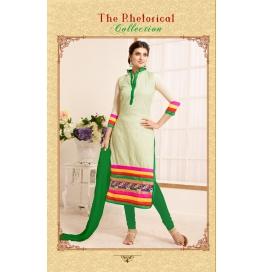 White Embroidedred Chanderi Straight Salwar Suit