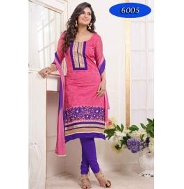 Pink Embroidred Chanderi Straight Salwar Suit